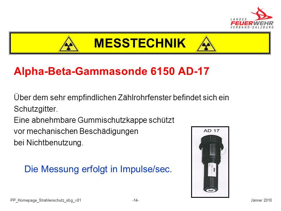 PP_Homepage_Strahlenschutz_sbg_v01-14- Alpha-Beta-Gammasonde 6150 AD-17 Über dem sehr empfindlichen Zählrohrfenster befindet sich ein Schutzgitter. Ei