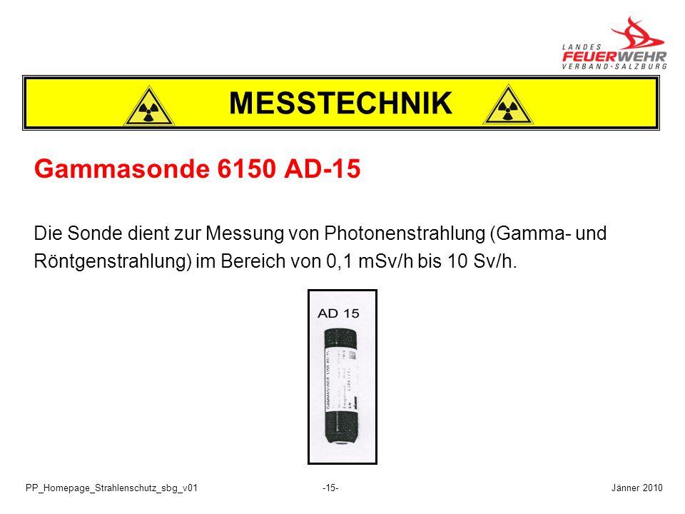 PP_Homepage_Strahlenschutz_sbg_v01-15- Gammasonde 6150 AD-15 Die Sonde dient zur Messung von Photonenstrahlung (Gamma- und Röntgenstrahlung) im Bereic
