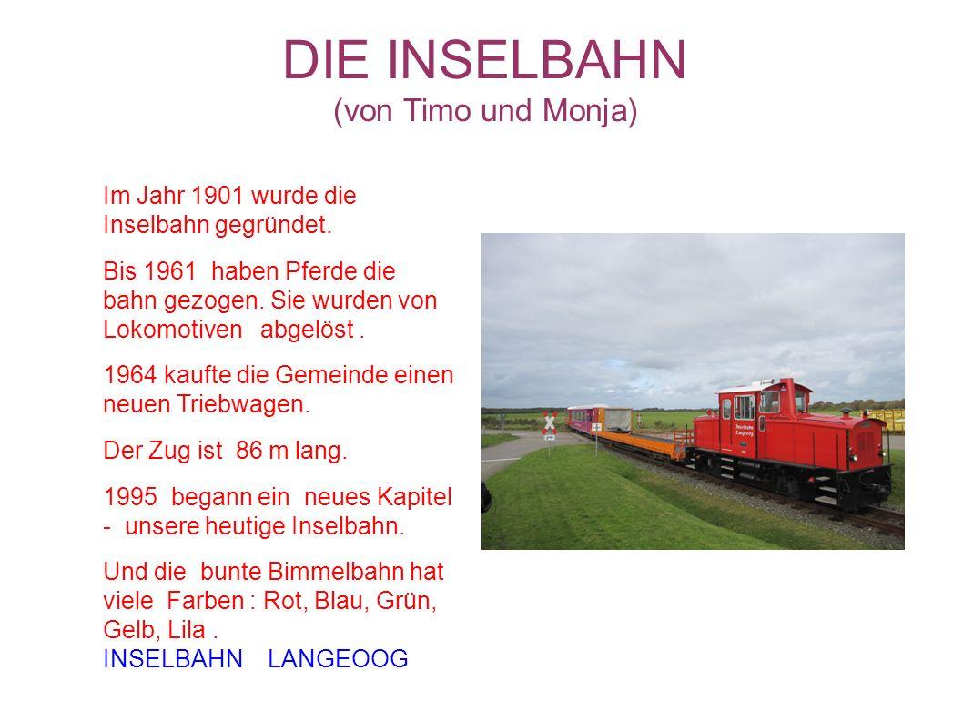 DIE INSELBAHN (von Timo und Monja) Im Jahr 1901 wurde die Inselbahn gegründet. Bis 1961 haben Pferde die bahn gezogen. Sie wurden von Lokomotiven abge