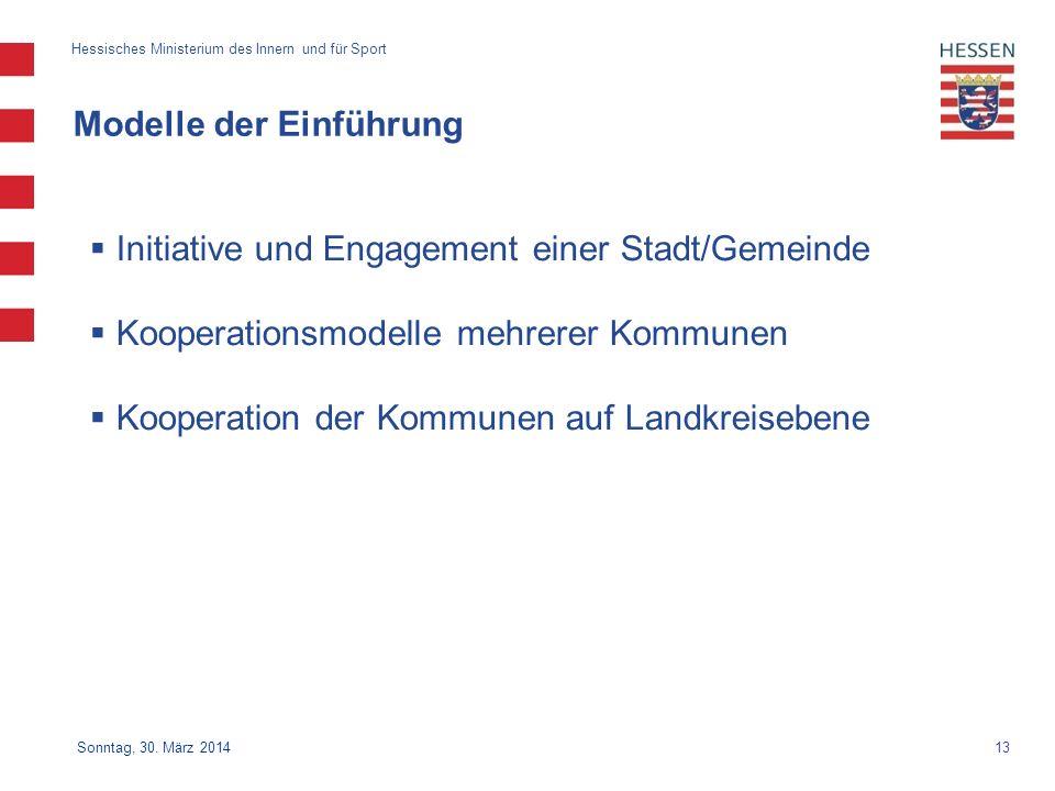 13 Hessisches Ministerium des Innern und für Sport Sonntag, 30. März 2014 Modelle der Einführung Initiative und Engagement einer Stadt/Gemeinde Kooper