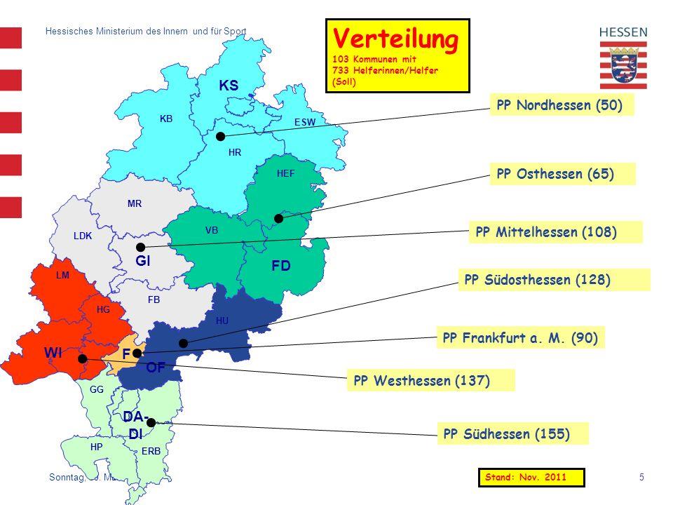 5 Hessisches Ministerium des Innern und für Sport Sonntag, 30. März 2014 Verteilung 103 Kommunen mit 733 Helferinnen/Helfer (Soll) HP KB ESW HR KS HEF