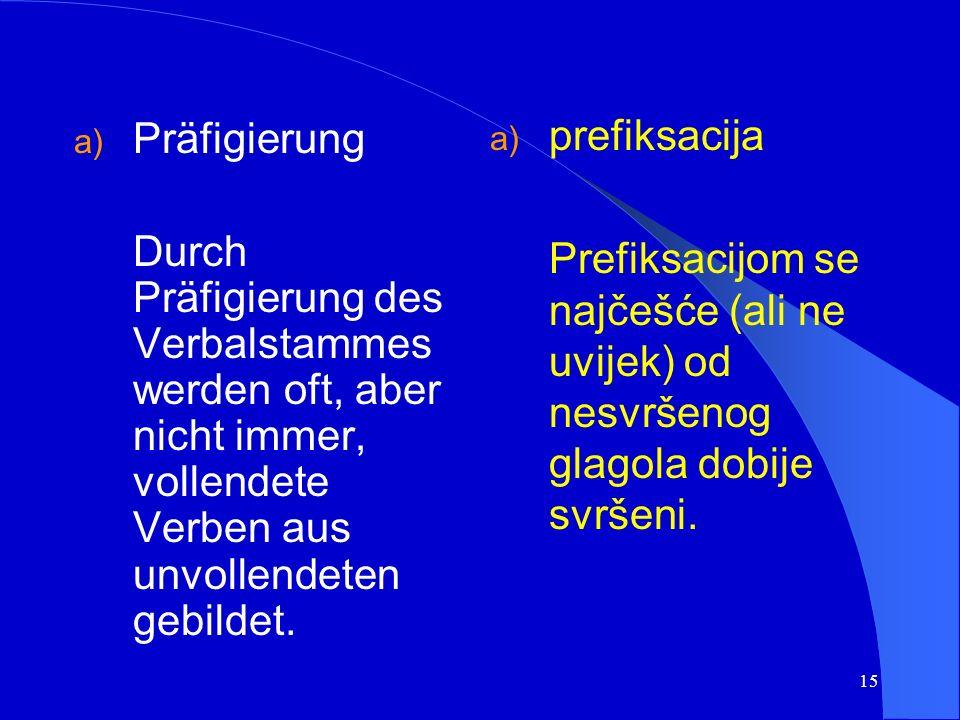 14 Die Aspektformen werden meistens vom gleichen Verbalstamm gebildet. Vidski parnjaci se tvore često na osnovi istoga glagolskoga korijena.