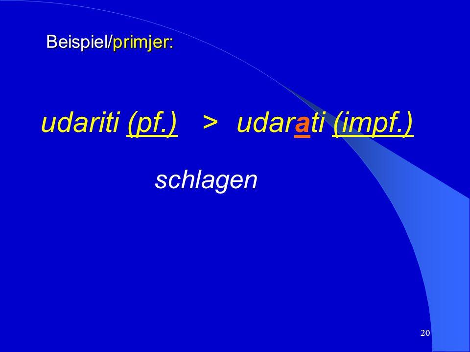 19 Beispiel/primjer: posjetiti (pf.) >posjećivati (impf.) besuchen