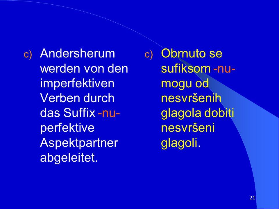 20 Beispiel/primjer: udariti (pf.) >udarati (impf.) schlagen