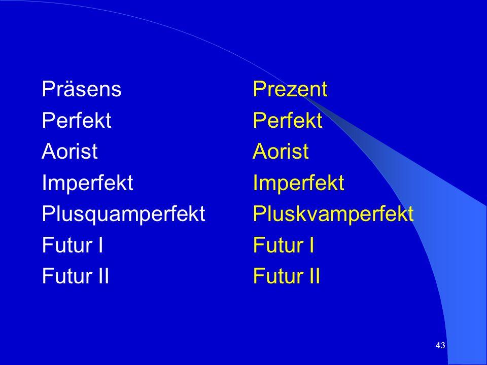 42 Die b/k/s Sprache verfügt über 7 Tempusformen: Bosanski/hrvatski/ srpski jezik ima 7 oblika vremena: