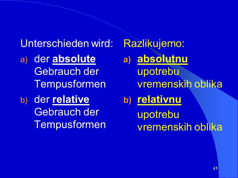 44 Gebrauch der Tempusformen Upotreba vremenskih oblika