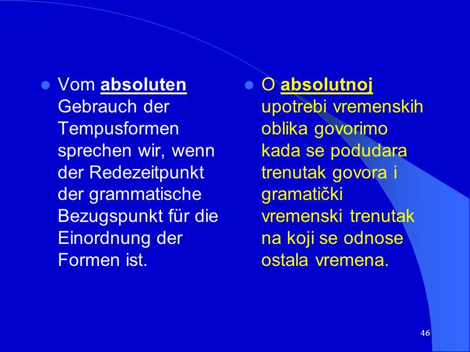 45 Unterschieden wird: a) der absolute Gebrauch der Tempusformen b) der relative Gebrauch der Tempusformen Razlikujemo: a) absolutnu upotrebu vremenskih oblika b) relativnu upotrebu vremenskih oblika
