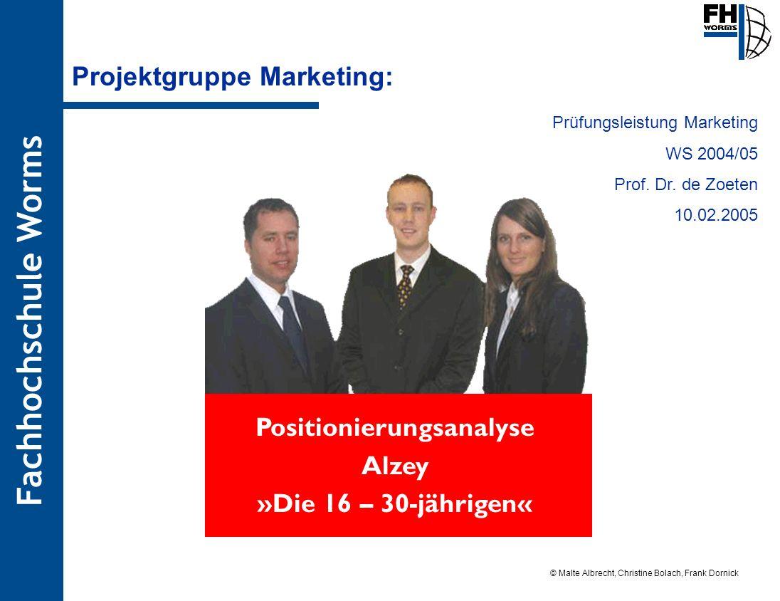 Fachhochschule Worms © Malte Albrecht, Christine Bolach, Frank Dornick Stand: 12.01.05 Projektgruppe Marketing: Positionierungsanalyse Alzey »Die 16 –