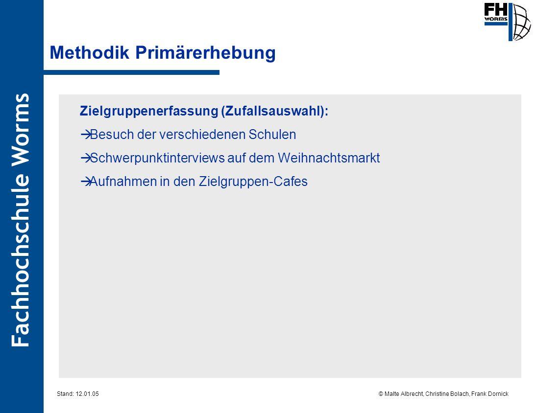 Fachhochschule Worms © Malte Albrecht, Christine Bolach, Frank Dornick Stand: 12.01.05 Methodik Primärerhebung Zielgruppenerfassung (Zufallsauswahl):