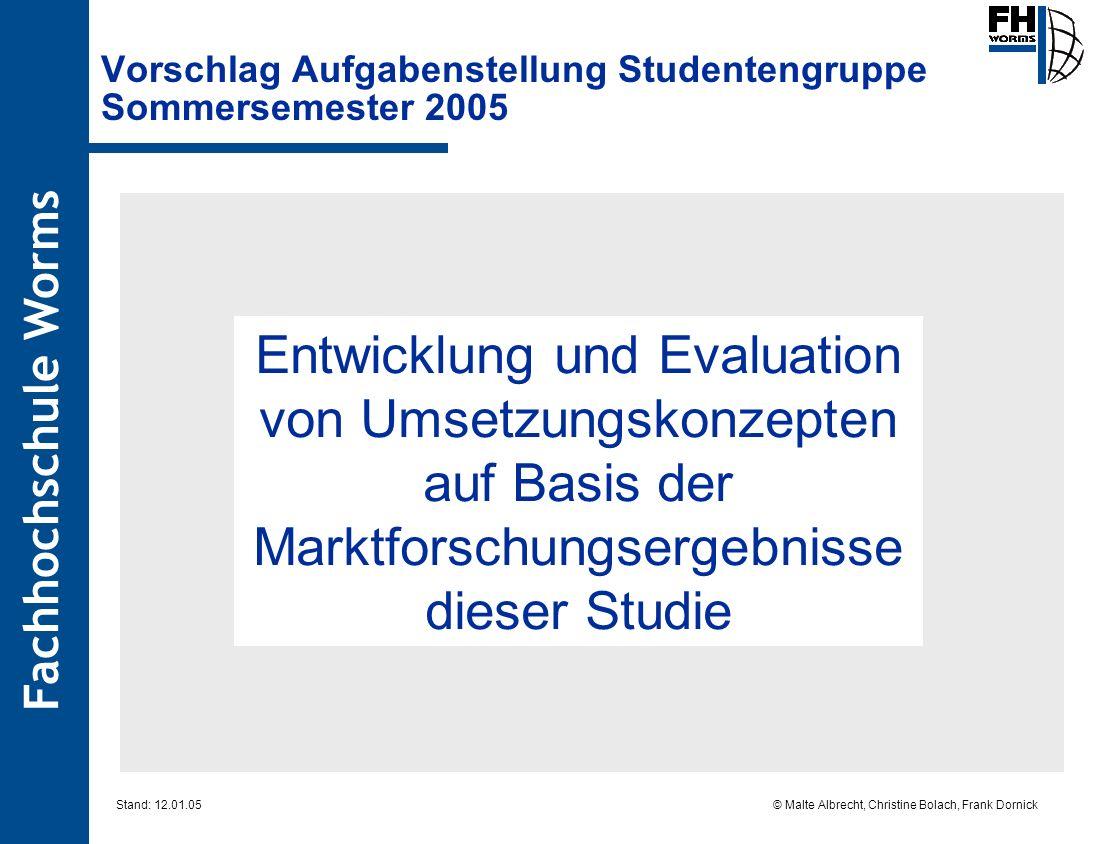 Fachhochschule Worms © Malte Albrecht, Christine Bolach, Frank Dornick Stand: 12.01.05 Vorschlag Aufgabenstellung Studentengruppe Sommersemester 2005