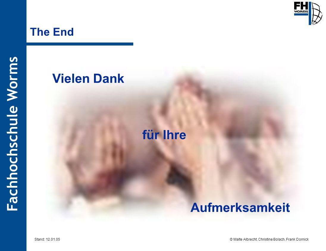 Fachhochschule Worms © Malte Albrecht, Christine Bolach, Frank Dornick Stand: 12.01.05 The End Vielen Dank für Ihre Aufmerksamkeit