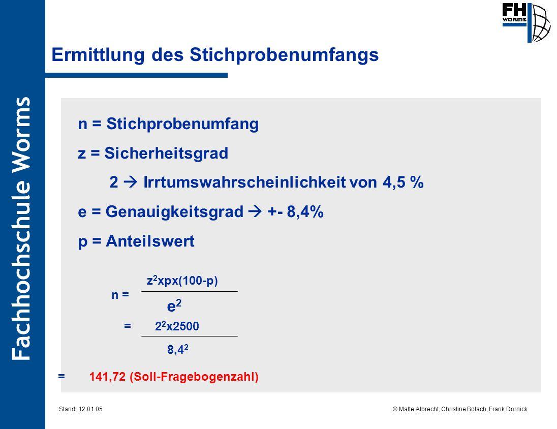 Fachhochschule Worms © Malte Albrecht, Christine Bolach, Frank Dornick Stand: 12.01.05 Ermittlung des Stichprobenumfangs n = z 2 xpx(100-p) e2e2 = 2 2