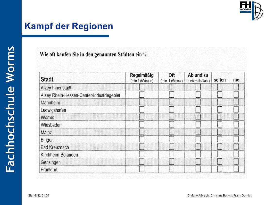 Fachhochschule Worms © Malte Albrecht, Christine Bolach, Frank Dornick Stand: 12.01.05 Kampf der Regionen