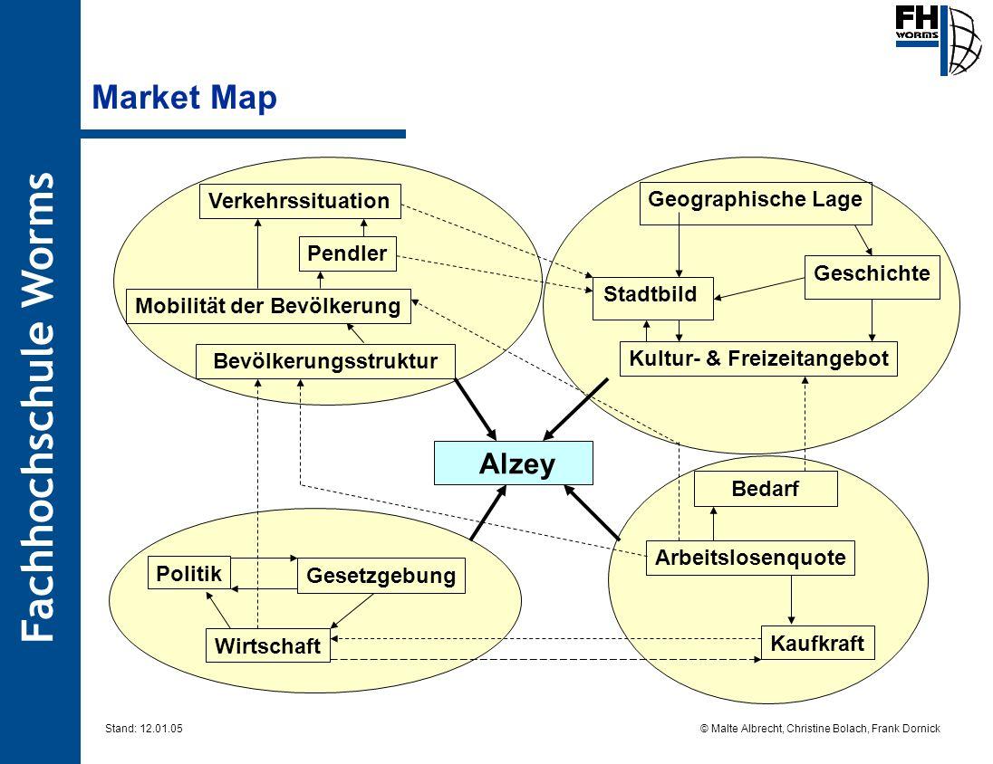 Fachhochschule Worms © Malte Albrecht, Christine Bolach, Frank Dornick Stand: 12.01.05 Alzey Market Map Kaufkraft Wirtschaft Politik Bedarf Arbeitslos