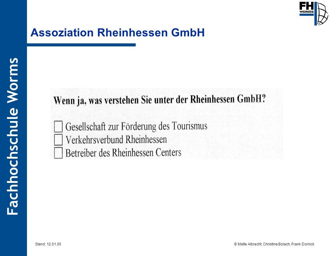 Fachhochschule Worms © Malte Albrecht, Christine Bolach, Frank Dornick Stand: 12.01.05 Assoziation Rheinhessen GmbH