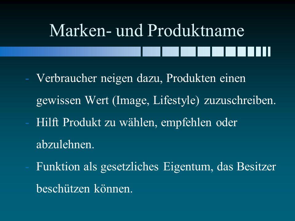Marken- und Produktname - -Verbraucher neigen dazu, Produkten einen gewissen Wert (Image, Lifestyle) zuzuschreiben. - -Hilft Produkt zu wählen, empfeh