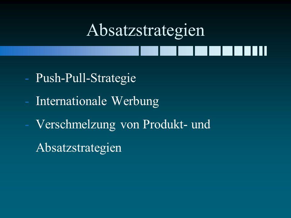 Absatzstrategien - -Push-Pull-Strategie - -Internationale Werbung - -Verschmelzung von Produkt- und Absatzstrategien