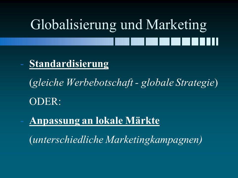 Globalisierung und Marketing - -Standardisierung (gleiche Werbebotschaft - globale Strategie) ODER: - -Anpassung an lokale Märkte (unterschiedliche Ma