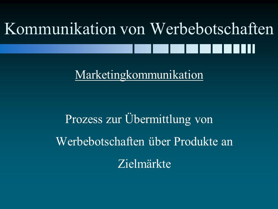 Kommunikation von Werbebotschaften Marketingkommunikation Prozess zur Übermittlung von Werbebotschaften über Produkte an Zielmärkte
