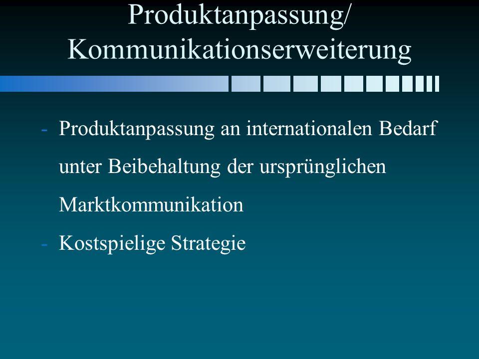 Produktanpassung/ Kommunikationserweiterung - -Produktanpassung an internationalen Bedarf unter Beibehaltung der ursprünglichen Marktkommunikation - -