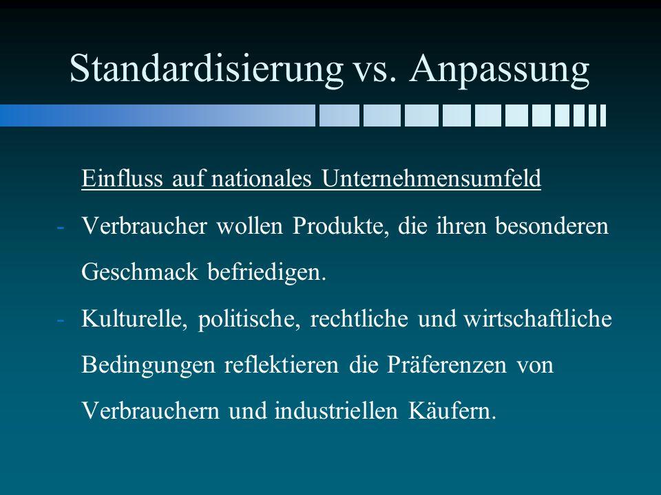 Standardisierung vs. Anpassung Einfluss auf nationales Unternehmensumfeld - -Verbraucher wollen Produkte, die ihren besonderen Geschmack befriedigen.