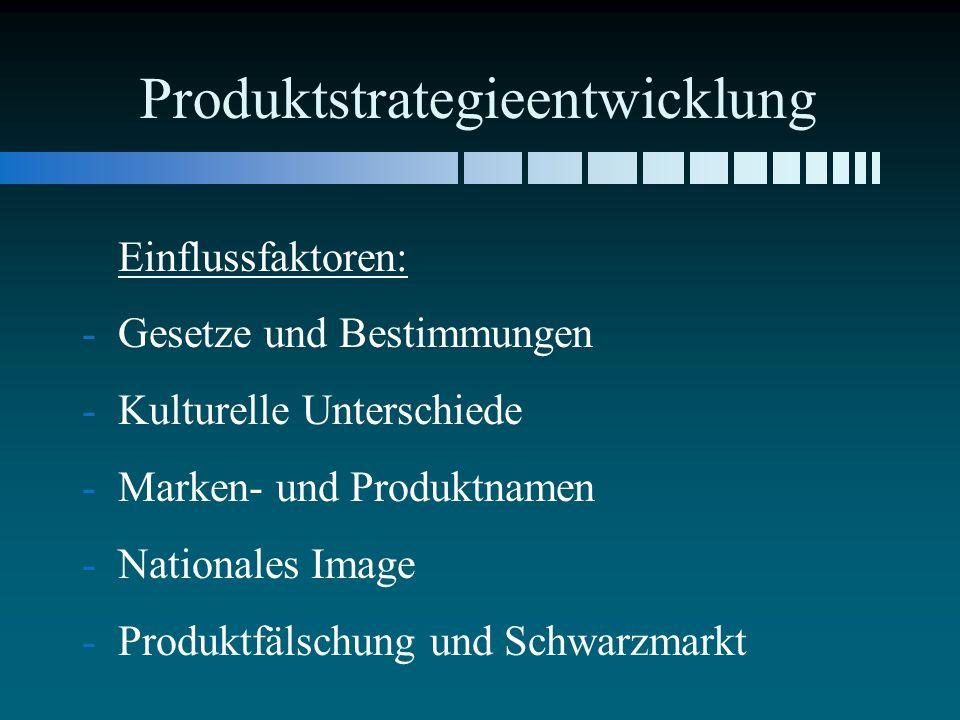Produktstrategieentwicklung Einflussfaktoren: - -Gesetze und Bestimmungen - -Kulturelle Unterschiede - -Marken- und Produktnamen - -Nationales Image - -Produktfälschung und Schwarzmarkt