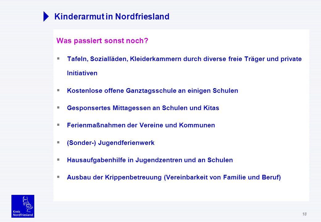 18 Kinderarmut in Nordfriesland Was passiert sonst noch? Tafeln, Sozialläden, Kleiderkammern durch diverse freie Träger und private Initiativen Kosten