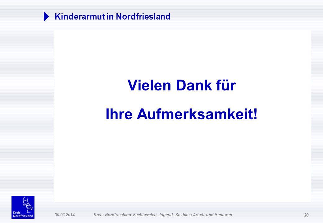 20 30.03.2014Kreis Nordfriesland Fachbereich Jugend, Soziales Arbeit und Senioren 20 Kinderarmut in Nordfriesland Vielen Dank für Ihre Aufmerksamkeit!