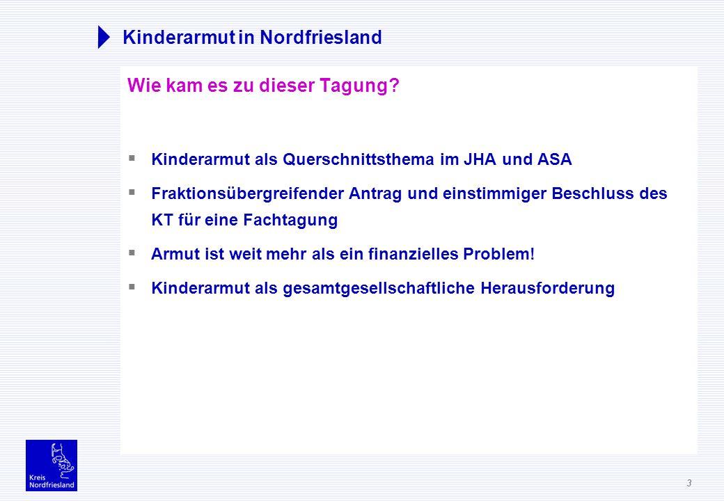 3 Kinderarmut in Nordfriesland Wie kam es zu dieser Tagung? Kinderarmut als Querschnittsthema im JHA und ASA Fraktionsübergreifender Antrag und einsti