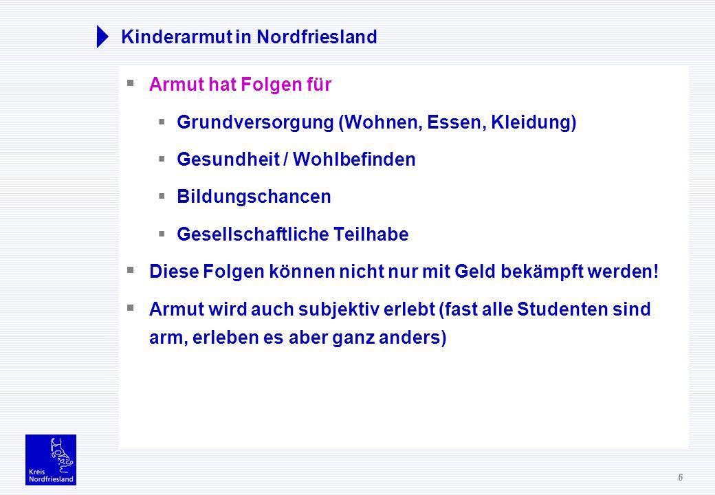 6 Kinderarmut in Nordfriesland Armut hat Folgen für Grundversorgung (Wohnen, Essen, Kleidung) Gesundheit / Wohlbefinden Bildungschancen Gesellschaftli
