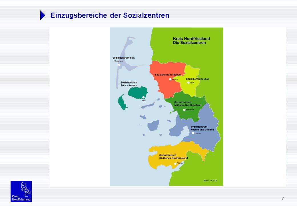 7 Einzugsbereiche der Sozialzentren