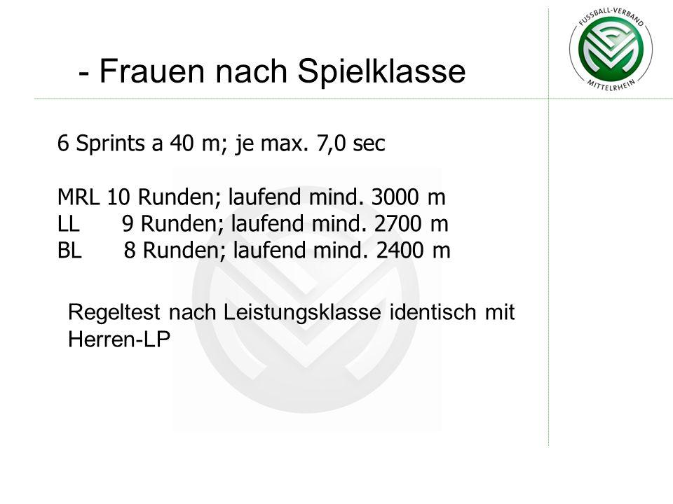 - Frauen nach Spielklasse Regeltest nach Leistungsklasse identisch mit Herren-LP 6 Sprints a 40 m; je max.