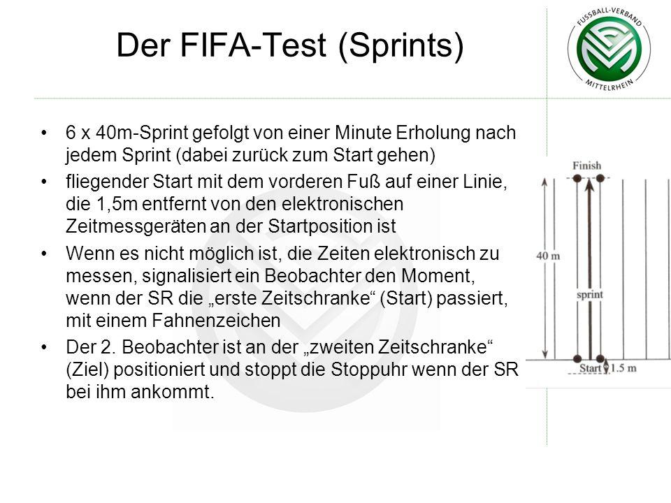 Der FIFA-Test (Sprints) 6 x 40m-Sprint gefolgt von einer Minute Erholung nach jedem Sprint (dabei zurück zum Start gehen) fliegender Start mit dem vorderen Fuß auf einer Linie, die 1,5m entfernt von den elektronischen Zeitmessgeräten an der Startposition ist Wenn es nicht möglich ist, die Zeiten elektronisch zu messen, signalisiert ein Beobachter den Moment, wenn der SR die erste Zeitschranke (Start) passiert, mit einem Fahnenzeichen Der 2.