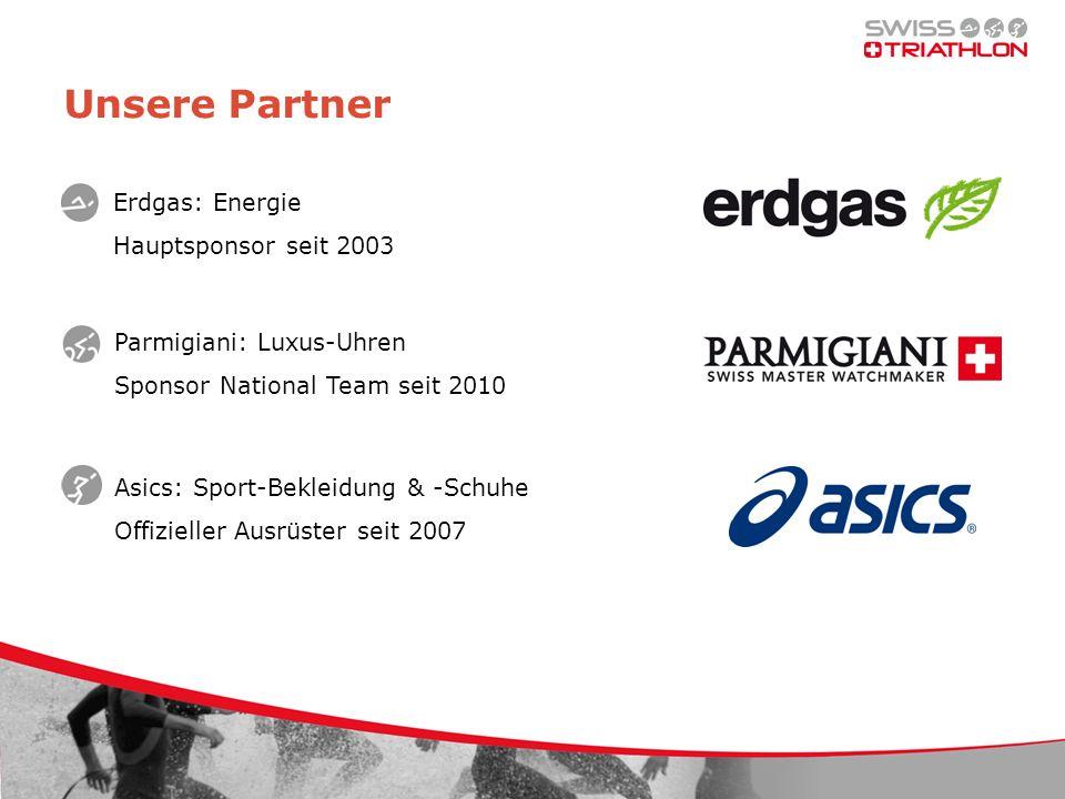 Unsere Partner Parmigiani: Luxus-Uhren Sponsor National Team seit 2010 Asics: Sport-Bekleidung & -Schuhe Offizieller Ausrüster seit 2007 Erdgas: Energ