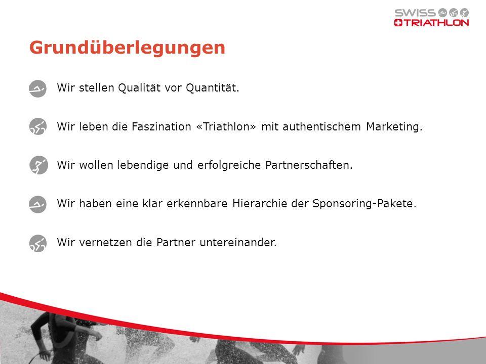 Grundüberlegungen Wir stellen Qualität vor Quantität. Wir leben die Faszination «Triathlon» mit authentischem Marketing. Wir wollen lebendige und erfo