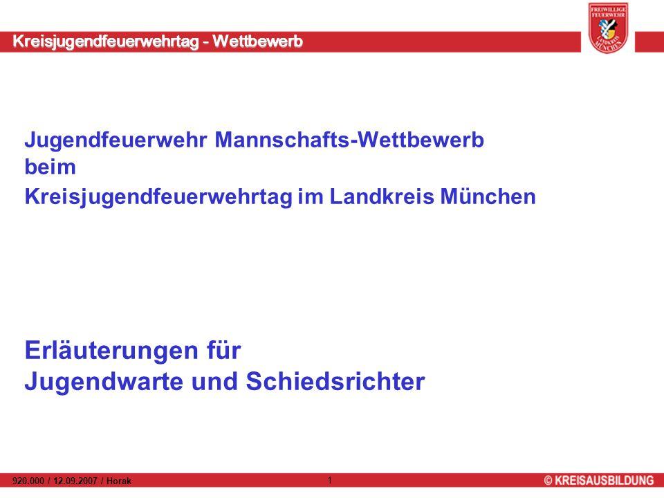 Kreisjugendfeuerwehrtag - Wettbewerb 920.000 / 12.09.2007 / Horak 1 Jugendfeuerwehr Mannschafts-Wettbewerb beim Kreisjugendfeuerwehrtag im Landkreis M
