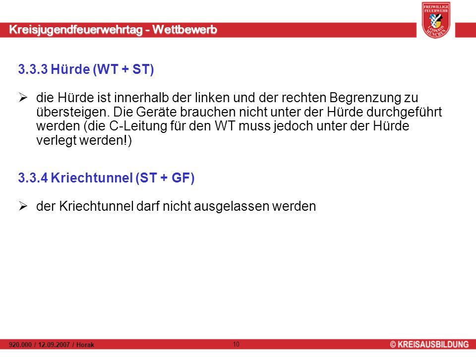 Kreisjugendfeuerwehrtag - Wettbewerb 920.000 / 12.09.2007 / Horak 10 3.3.3 Hürde (WT + ST) die Hürde ist innerhalb der linken und der rechten Begrenzung zu übersteigen.