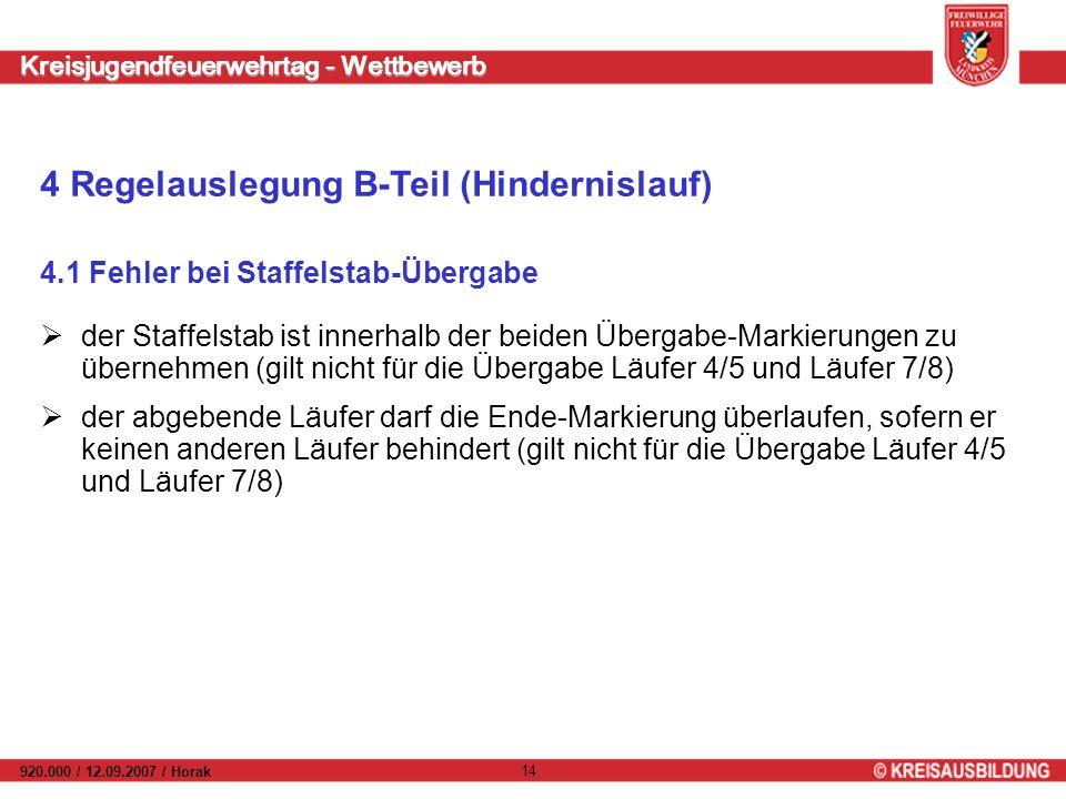 Kreisjugendfeuerwehrtag - Wettbewerb 920.000 / 12.09.2007 / Horak 14 4.1 Fehler bei Staffelstab-Übergabe der Staffelstab ist innerhalb der beiden Über