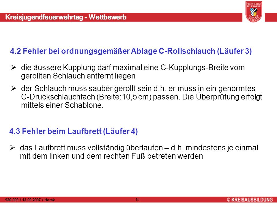 Kreisjugendfeuerwehrtag - Wettbewerb 920.000 / 12.09.2007 / Horak 15 4.2 Fehler bei ordnungsgemäßer Ablage C-Rollschlauch (Läufer 3) die äussere Kuppl