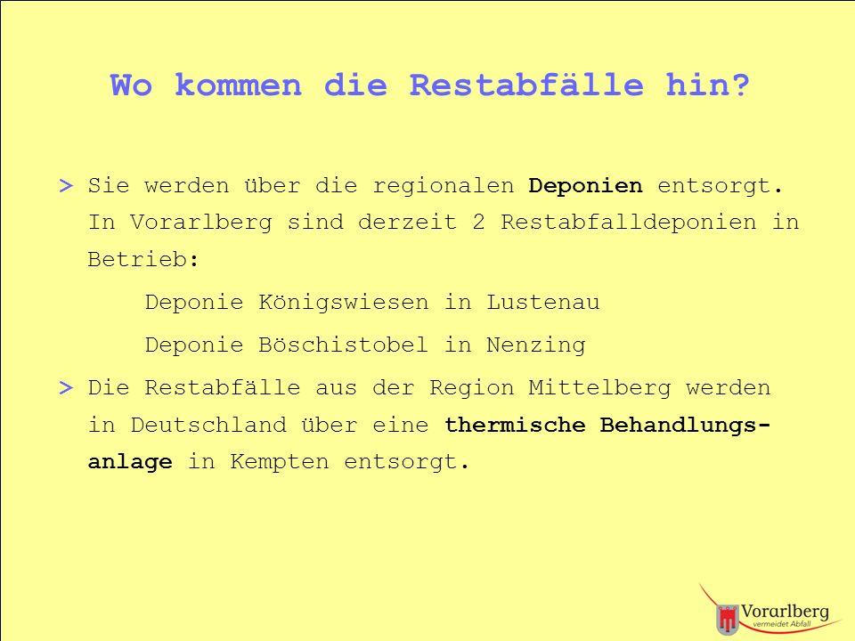 Wo kommen die Restabfälle hin? > Sie werden über die regionalen Deponien entsorgt. In Vorarlberg sind derzeit 2 Restabfalldeponien in Betrieb: Deponie