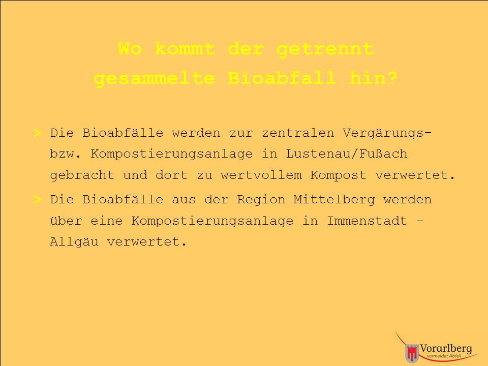 Wo kommt der getrennt gesammelte Bioabfall hin? > Die Bioabfälle werden zur zentralen Vergärungs- bzw. Kompostierungsanlage in Lustenau/Fußach gebrach