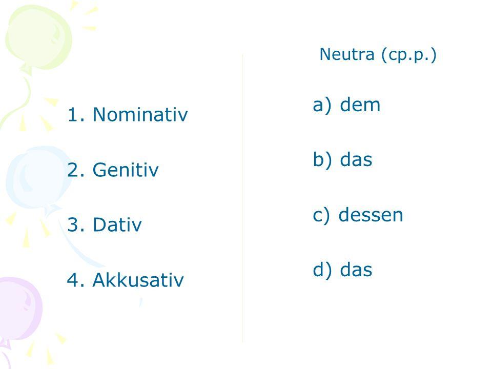 1. Nominativ 2. Genitiv 3. Dativ 4. Akkusativ Plural (мн.ч.) a) deren b) die c) denen d) die