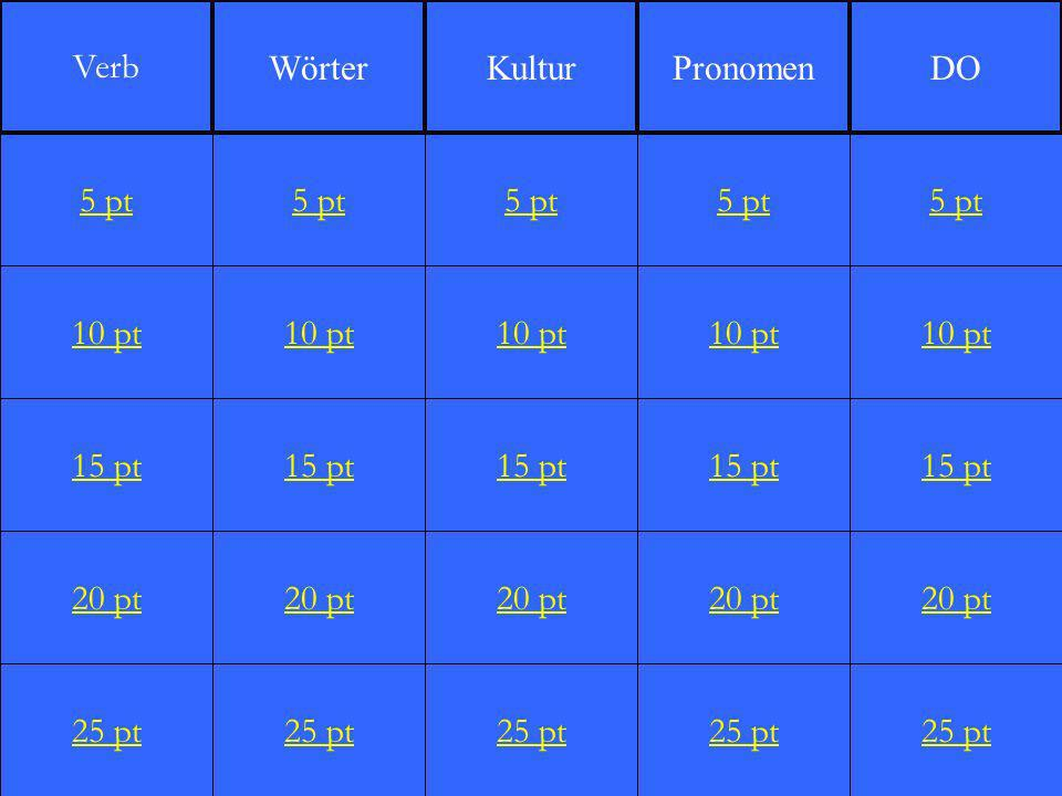 10 pt 15 pt 20 pt 25 pt 5 pt 10 pt 15 pt 20 pt 25 pt 5 pt 10 pt 15 pt 20 pt 25 pt 5 pt 10 pt 15 pt 20 pt 25 pt 5 pt 10 pt 15 pt 20 pt 25 pt 5 pt Verb WörterKulturPronomenDO