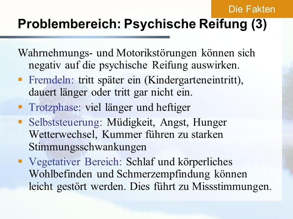 Problembereich: Psychische Reifung (3) Wahrnehmungs- und Motorikstörungen können sich negativ auf die psychische Reifung auswirken. Fremdeln: tritt sp