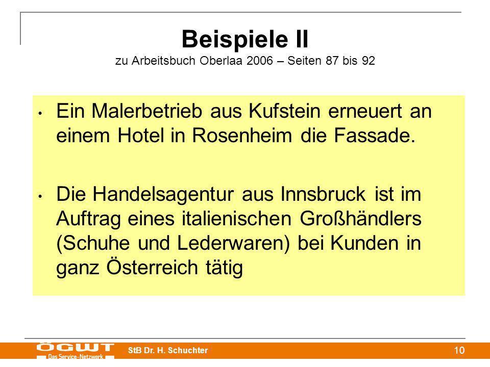 StB Dr. H. Schuchter 10 Beispiele II zu Arbeitsbuch Oberlaa 2006 – Seiten 87 bis 92 Ein Malerbetrieb aus Kufstein erneuert an einem Hotel in Rosenheim