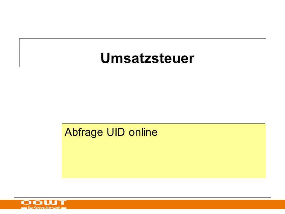 Umsatzsteuer Abfrage UID online