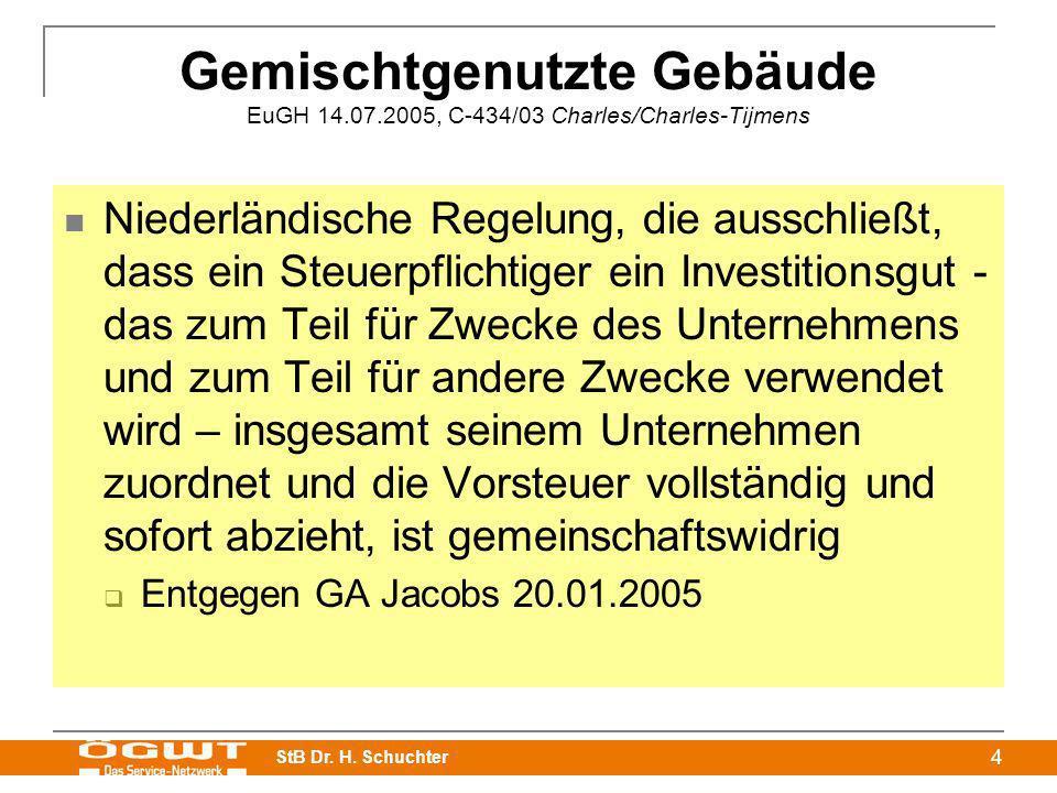 StB Dr. H. Schuchter 4 Gemischtgenutzte Gebäude EuGH 14.07.2005, C-434/03 Charles/Charles-Tijmens Niederländische Regelung, die ausschließt, dass ein