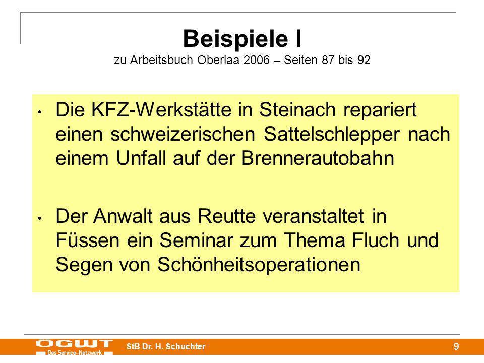 StB Dr. H. Schuchter 9 Beispiele I zu Arbeitsbuch Oberlaa 2006 – Seiten 87 bis 92 Die KFZ-Werkstätte in Steinach repariert einen schweizerischen Satte