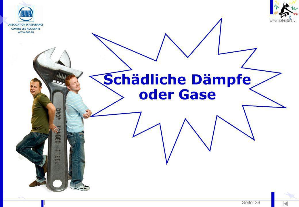 www.safestart.lu Seite: 28 Schädliche Dämpfe oder Gase