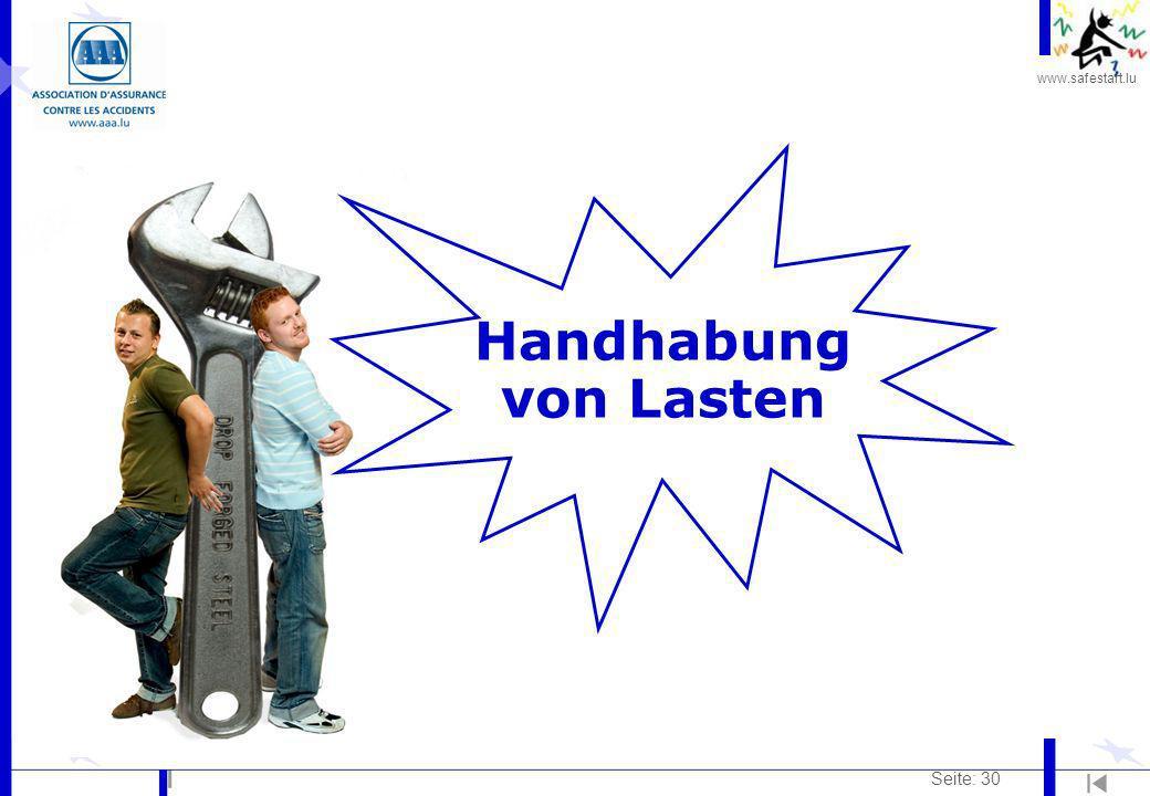 www.safestart.lu Seite: 30 Handhabung von Lasten